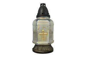 Лампадка со свечой в стекле 24,5см 36ч в ассорт