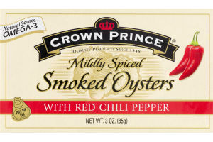 Crown Prince Mildly Spiced Smoked Oysters with Red Chili Pepper