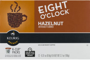 Eight O'Clock Hazelnut Medium Roast Coffee K-Cup Packs - 12 CT