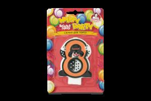 Свеча-цифра для торта с клоуном №8 Happy Party Помічниця 1шт