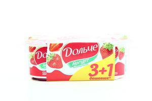 Йогурт President Дольче клубника 3,2% (120гх4шт) Акция