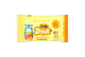 Салфетки влажные для детей с экстрактом ромашки Zeffir 63шт