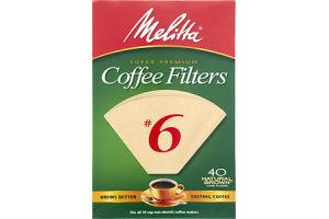 Melitta Super Premium #6 Natural Brown Cone Coffee Filters - 40 CT