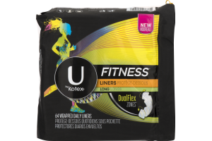 U By Kotex Fitness Daily Liners Long - 64 CT