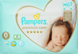 Подгузники <3кг 0 Premium care Pampers 30шт