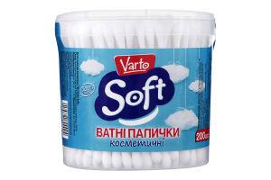 Ватные палочки косметические в банке Soft Varto 200шт