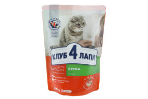 Корм сухой для взрослых кошек Курица Клуб 4 лапы м/у 300г
