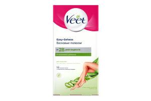 Смужки для депіляції воскові для сухої шкіри Відлущування та зволоження Veet 12шт