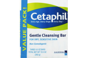 Cetaphil Dry Sensitive Skin Glentle Cleansing Bar - 3 PK