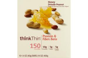 thinkThin Protein & Fiber Bars Honey Drizzle Peanut - 10 CT