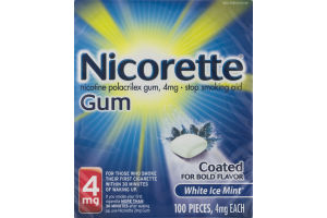 Nicorette Gum Stop Smoking Aid 4mg White Ice Mint - 100 PCS