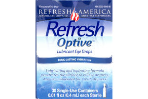 Refresh Optive Lubricant Eye Drops Long-Lasting Hydration Single Use - 30 CT