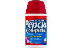 Pepcid Complete Acid Reducer + Antacid Chewable Tablets Berry Flavor - 50 CT