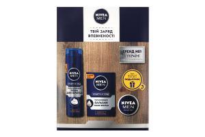 Набір піна для гоління 200мл+бальзам після гоління 100мл+крем для обличчя 30мл зволожуюий Захист та Догляд Nivea Men 1шт