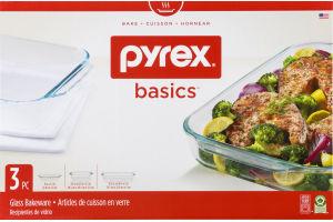 Pyrex Basics Glass Bakeware - 3 PC