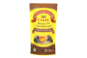 Майонез 72% на перепелиних яйцях Європейський Королівський смак д/п 180г