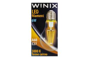 Лампа філаментна ЛЕД A60 6W E27 3000K Вінікс