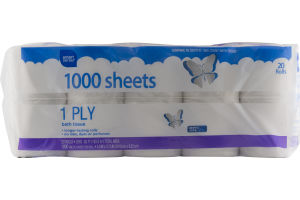 Smart Sense 1 Ply Bath Tissue - 20 CT