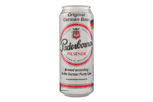 Пиво 0.5л 4.8% светлое фильтрованное солодовое Pilsener Paderborner ж/б