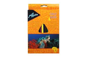 """Олівці пластикові """"Animal World"""", 18 кольорів. Матеріал: пластик, тригранні, загострені, довжина олівців 17,5 см, в картонній коробці з підвісом, яскраві кольори. Товщина грифеля 2,7 мм."""