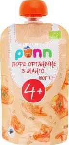 Фруктовое органическое пюре Ponn манго, 100 г