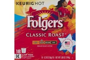 Folgers Classic Roast K-Cup Pods Medium Roast Coffee - 18 CT
