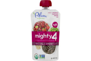 Plum Organics Tots Mighty 4 Pouch Cherry Strawberry Black Bean Spinach Oat