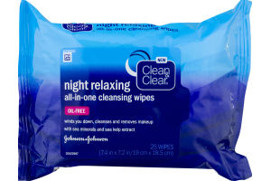 Clean & Clear Night Relaxing All-In-One Cleansing Wipes Oil Free - 25 CT
