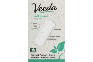 Veeda Natural Cotton Liners - 40 CT