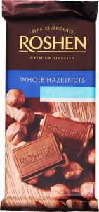 Шоколад молочний с цілими лісовими горіхами Рошен 90г