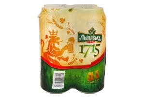 Пиво Львовское 1715 Премиум лагер ж/б 4% 4*0,5л Акция
