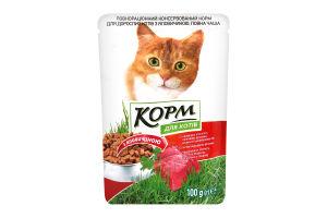 Корм для котов консервированный с говядиной Повна Чаша м/у 100г