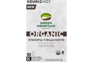 Green Mountain Coffee Organic Light Roast Coffee K-Cup Pods Ethiopia Yirgacheffe - 10 CT