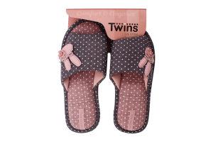 Тапочки открытые домашние женские №4574 Twins 36-37 pink rabbit