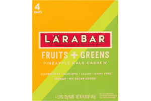 Larabar Fruit & Nut Food Bar Fruits + Greens Pineapple Kale Cashew