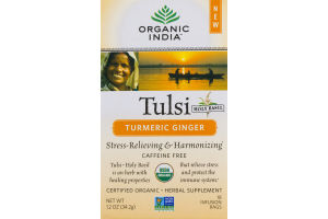 Organic India Tulsi Holy Basil Turmeric Ginger Herbal Supplement Infusion Bags