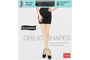 No nonsense Great Shapes All Over Shaper Size B Midnight Black Sheer Toe - 1 PR