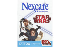 Nexcare Waterproof Star Wars Tattoo Assorted Bandages 20 Ct