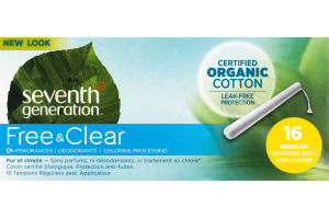 Seventh Generation Free & Clear Organic Cotton Tampons Regular - 16 CT