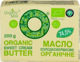 Масло 74.5% сладкосливочное Крестьянское Organic Milk м/у 200г