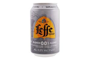 Пиво 0.33л 0.05% светлое пастеризованное Blonde 0.0 Leffe ж/б