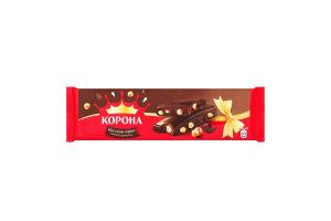 Шоколад Корона чорний з цілими лісовими горіхами 185г