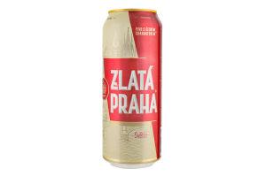 Пиво 0.5л 5% світле пастеризоване Zlata Praha з/б