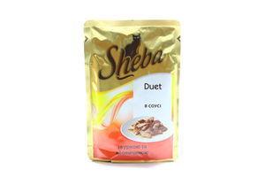 Корм для взрослых котов C курицей и говядиной в соусе Duet Sheba 85г