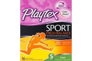 Playtex Sport Fresh Balance Plastic Tampons Super - 16 CT