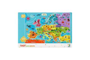 Пазл для дітей від 5років 64х46см №300129 Мапа Європи Dodo 100ел