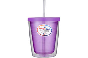 Arrow Double Wall 14oz Cup with Lid and Straw