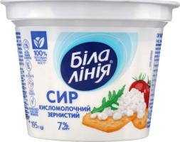 Сир кисломолочний 7% зернистий Біла лінія ст 195г