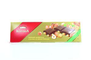 Шоколад черный целый лесной орех Корона 200г