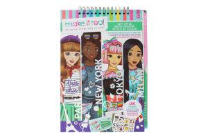 Блокнот для дітей від 8років з трафаретами для створення модних колекцій №MR3207 Міський стиль Make it Real 180шт